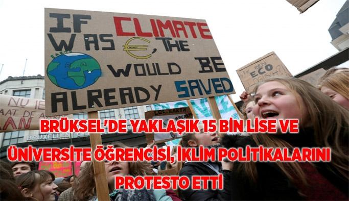 Brüksel'de öğrencilerden iklim protestosu
