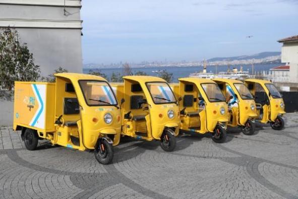 PTT de Adalar'da çevre dostu elektrikli araçlara döndü